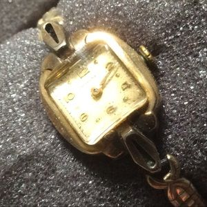 Longines 10K Gold Art Deco Ladies Elastic Watch